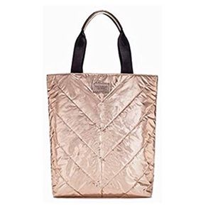 VICTORIAS SECRET rose gold puffer tote